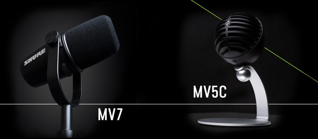 Shure MV5C & MV7 – micro pour le podcast et télétravail